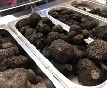 Venta de trufas en la Feria de la Trufa de Soria en Abejar